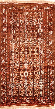 "Kurdi-Bof Red Hand Knotted 3'7"" X 6'6""  Area Rug 100-29854"