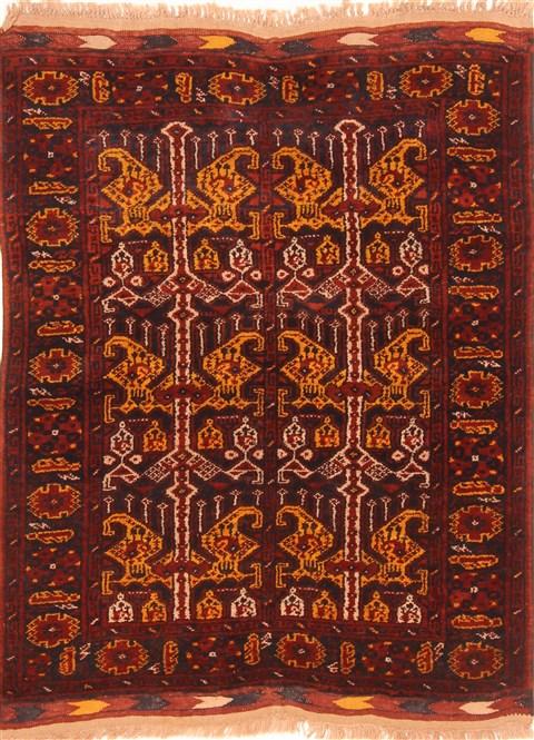 Afghan Kunduz Red Square 5x7 Ft Wool Carpet 29855 Sku 29855