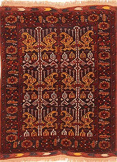 "Kunduz Red Square Hand Knotted 3'6"" X 4'2""  Area Rug 100-29855"