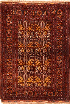"Kunduz Red Hand Knotted 3'4"" X 4'7""  Area Rug 100-29858"