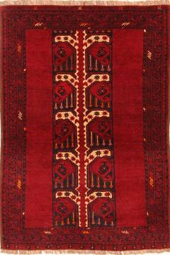 "Kunduz Red Hand Knotted 3'5"" X 4'11""  Area Rug 100-29860"