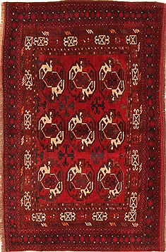 Afghan Bokhara Red Rectangle 4x6 ft Wool Carpet 29880