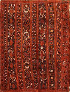 Afghan Kurdi Red Rectangle 4x6 ft Wool Carpet 29881