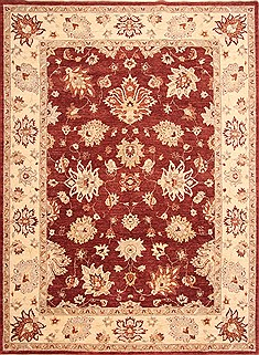 Pakistani Pishavar Red Rectangle 9x12 ft Wool Carpet 29882