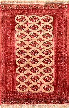 "Turkman Red Hand Knotted 4'6"" X 6'6""  Area Rug 100-29887"