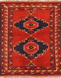 Afghan Yamouth Red Square 5 to 6 ft Wool Carpet 29889