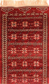 Afghan Yamouth Red Runner 6 to 9 ft Wool Carpet 29890