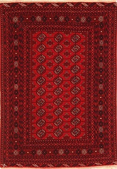 Afghan Bokhara Red Rectangle 4x6 ft Wool Carpet 29893