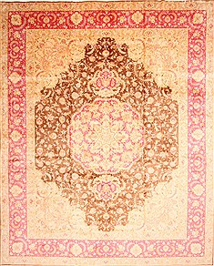 "Tabriz Beige Hand Knotted 12'7"" X 15'6""  Area Rug 254-29921"