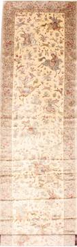 Persian Qum Beige Runner 13 to 15 ft silk Carpet 29938