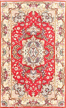 Persian Tabriz Beige Rectangle 2x4 ft Wool Carpet 29967