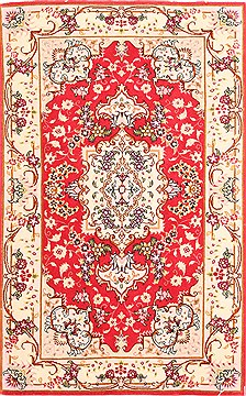 Persian Tabriz Beige Rectangle 2x4 ft Wool Carpet 29968
