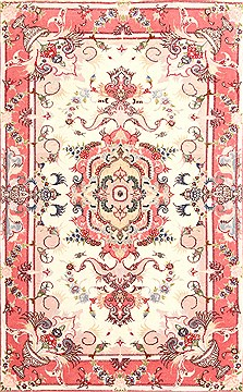 Persian Tabriz Purple Rectangle 3x4 ft Wool Carpet 29969