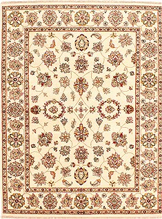 Persian Pishavar Beige Rectangle 5x7 ft Wool Carpet 29986