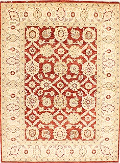 "Pishavar Red Hand Knotted 5'2"" X 6'11""  Area Rug 254-29989"