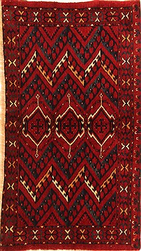"Kunduz Red Hand Knotted 3'5"" X 5'8""  Area Rug 100-30037"