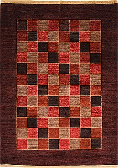 Pakistani Gabbeh Brown Rectangle 7x10 ft Wool Carpet 30047