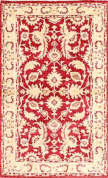 "Pishavar Red Hand Knotted 3'1"" X 5'0""  Area Rug 254-30060"
