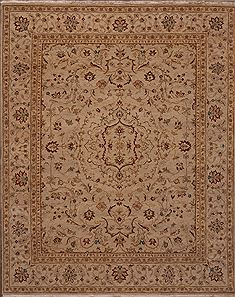 Indian Chobi Beige Rectangle 8x10 ft Wool Carpet 30067