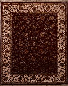 Indian Jaipur Red Rectangle 8x10 ft Wool Carpet 30068