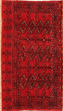 Afghan Bokhara Red Rectangle 3x5 ft Wool Carpet 30102