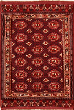 Kunduz Red Hand Knotted 4 7 X 6 Area Rug 253