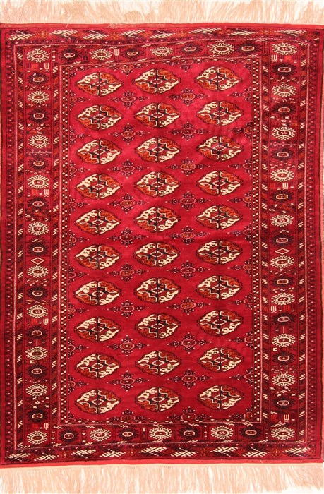 Afghan Bokhara Red Rectangle 3x5 Ft Silk Carpet 30119
