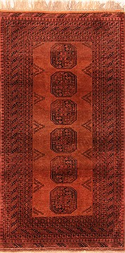 "Turkman Red Hand Knotted 3'5"" X 6'5""  Area Rug 100-30130"