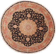 Persian Tabriz Beige Round 9 ft and Larger Wool Carpet 30145