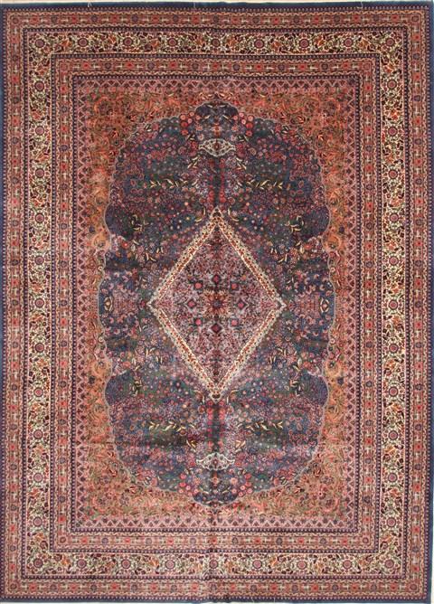 Chinese Kerman Blue Rectangle 10x14 Ft Wool Carpet 30182
