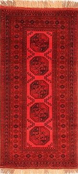 Afghan Bokhara Red Runner 6 to 9 ft Wool Carpet 30183