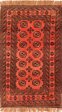 Afghan Bokhara Red Rectangle 4x6 ft Wool Carpet 30184