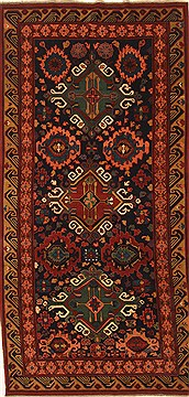 "Kazak Blue Runner Hand Knotted 4'6"" X 9'2""  Area Rug 255-30190"