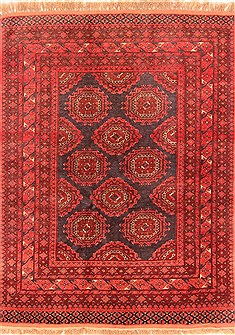 "Kunduz Red Hand Knotted 3'5"" X 6'6""  Area Rug 100-30192"