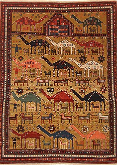 "Kazak Brown Hand Knotted 6'4"" X 8'8""  Area Rug 255-30195"