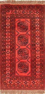 "Kunduz Red Hand Knotted 3'7"" X 6'8""  Area Rug 100-30204"