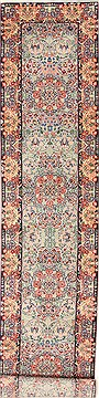 "Kerman Blue Runner Hand Knotted 2'7"" X 12'0""  Area Rug 255-30207"