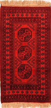 "Kunduz Red Hand Knotted 3'6"" X 6'6""  Area Rug 100-30217"