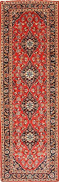 "Kashan Red Runner Hand Knotted 3'4"" X 9'10""  Area Rug 255-30221"