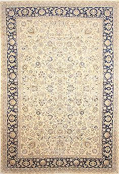 Persian Mashad Beige Rectangle 13x20 ft and Larger Wool Carpet 30229