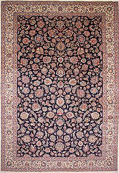 Persian Mashad Beige Rectangle 13x20 ft and Larger Wool Carpet 30231