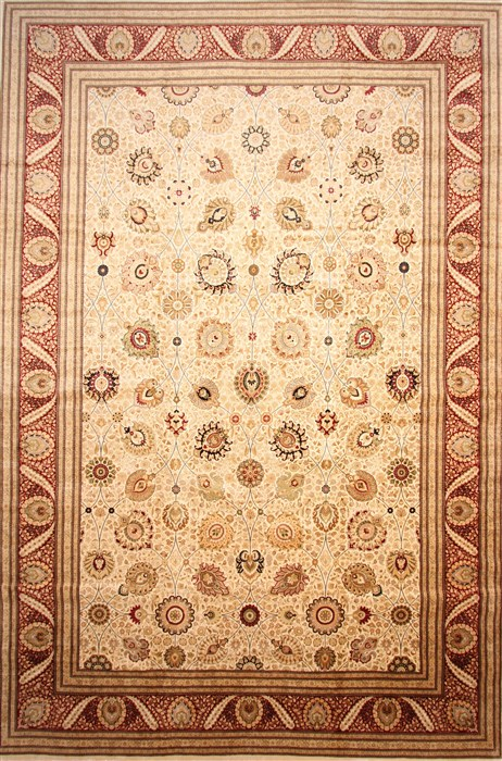 Pakistani Tabriz Beige Rectangle 13x20 Ft And Larger Wool