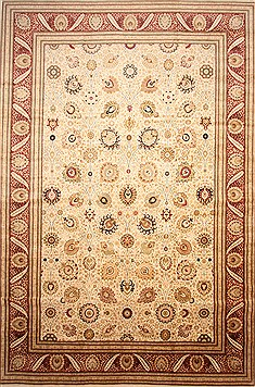 "Tabriz Beige Hand Knotted 14'3"" X 21'0""  Area Rug 254-30240"