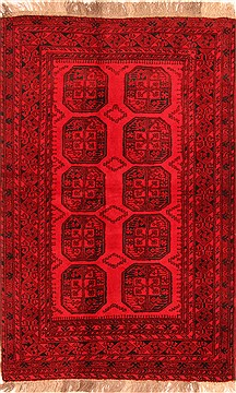Afghan Bokhara Red Rectangle 5x7 ft Wool Carpet 30241