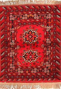 "Kunduz Red Hand Knotted 3'8"" X 4'9""  Area Rug 100-30244"
