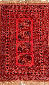 "Turkman Red Hand Knotted 4'5"" X 6'10""  Area Rug 100-30245"