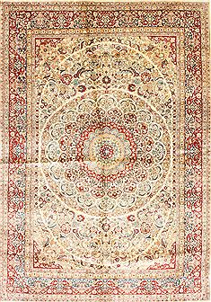 "Hereke Green Square Hand Knotted 6'0"" X 6'0""  Area Rug 254-30283"