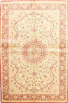 "Qom Red Hand Knotted 4'5"" X 6'7""  Area Rug 254-30285"