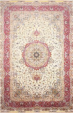 Persian Tabriz Beige Rectangle 13x20 ft and Larger Wool Carpet 30296