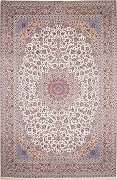 "Isfahan White Hand Knotted 13'4"" X 20'0""  Area Rug 254-30298"